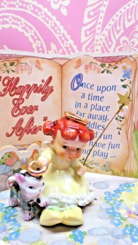 Vtg ARDALT Red Haired ANGEL W Kitty Cat ANGEL With ORIGINAL GOLD STAR WAND
