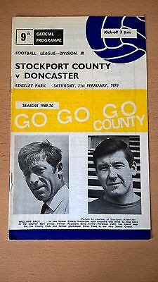 Stockport County v Doncaster Rovers Programme 1969/70