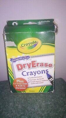 Crayola Dry Erase Crayons (Crayola Dry Erase Washable Crayons 8 Pkg Built in sharpener ERASE CLOTH)