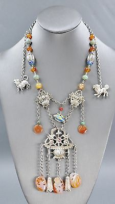 Fine Antique Chinese Silver Carnelian Agate Turquoise Mandarin Court Necklace