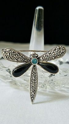 - Vintage 925 Sterling Silver Dragonfly Brooch Pin w/ Marcasite Onyx & Blue Topaz