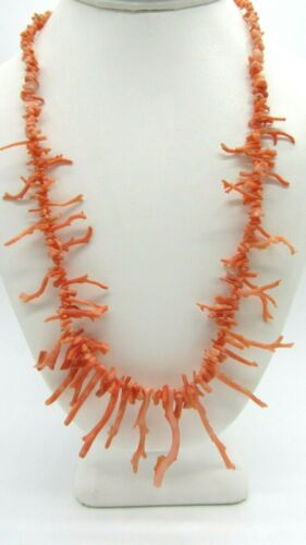 """Beautiful Vintage Delicate Pink Angel Skin Branch Coral Necklace 21"""""""