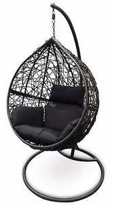 Outdoor Swing Hanging Egg/ Pod Chair - Black Basket and Cushions Tullamarine Hume Area Preview