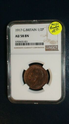 1917 Great Britain 1/2 Penny NGC AU58 BN ABOUT UNC 1/2P Coin BUY IT NOW!