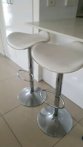 White Leather Look Adjustable Bar Stool x 2