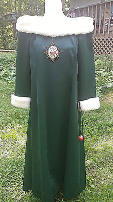Womens Green Christmas Caroler Singer Charles Dickens Dress Costume M 8 10