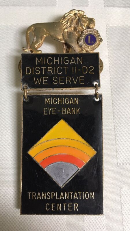 Lions Club Pin District 11-D2 MI We Serve MI Eye Bank Transplant Center Vintage