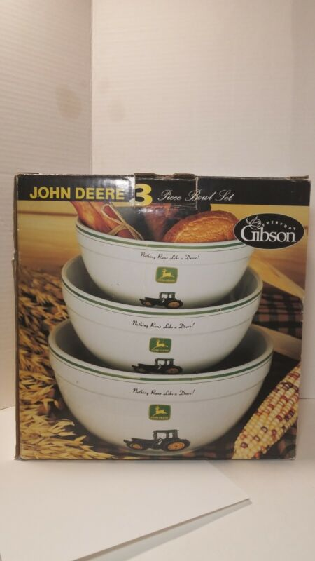 John Deere Gibson Everyday 3* Piece Mixing Bowl Set NEW Open Box Tractor & Logo