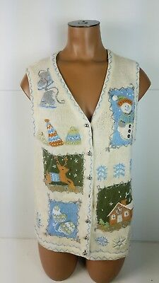 Christmas Sweater Vest (Ugly Christmas Sweater Vest Holiday Pullover Jacket Party Button Front Sz)