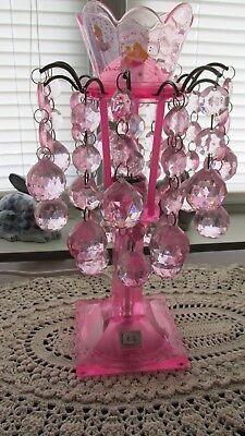 DISNEY PRINCESS Nite Lite/Night Light/Lamp Pink w/Hanging Facets