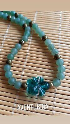 Gargantilla aventurina verde collar colgante necklace flor cristal murano cuarzo