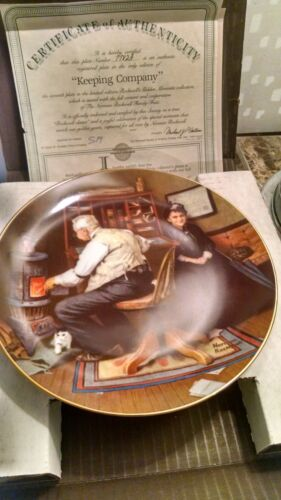 Keeping Company Norman Rockwell Plate W/ Original box and Paperwork