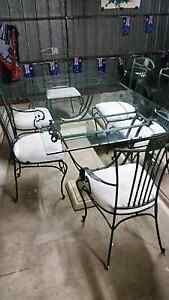 6 seat glass top dining table. Langwarrin Frankston Area Preview