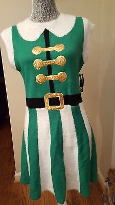 New Directions Christmas Elf Dress Green/White Stripe w/Sequins Petite M - White Elf Dress
