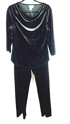 Coldwater Creek womens 2 piece pant suit velvet black size M evening wear party