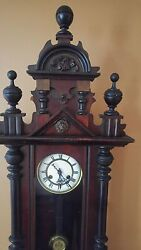 Antique 19th C Victorian German Wall Clock. Pendulum. Working. Antique.