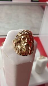 10k yellow gold Jesus head ring
