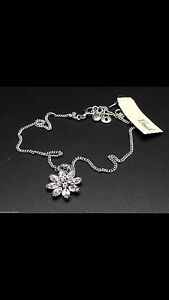Fossil Brand Crystal Flower Necklace
