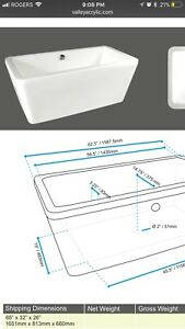 "Square free standing bathtub 63"" with drain included"