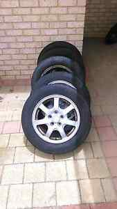 5 X Mitsubishi 5 stud wheels 90% thread on 3 , 70% on 2 tyres Ballajura Swan Area Preview