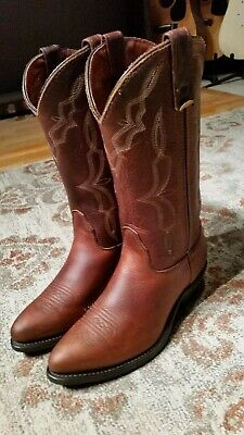 DOUBLE H BROWN OILED LEATHER J TOE COWBOY WORK BOOTS #5180 MEN'S SIZE 8.5W