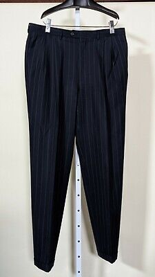 Gucci Vintage Tom Ford Era Blue Pinstripe Power Dress Pants 36 x 33 Italy