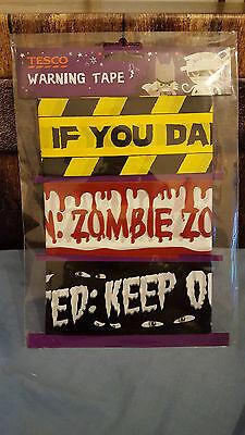 Halloween Tesco's Warning Tape. Pack of 3 Designs free UK p&p  (Tescos Halloween)