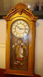 Boston Clock CO.Oak Wall Regulator Quartz Clock, Leaded Glass,Westminster Chimes