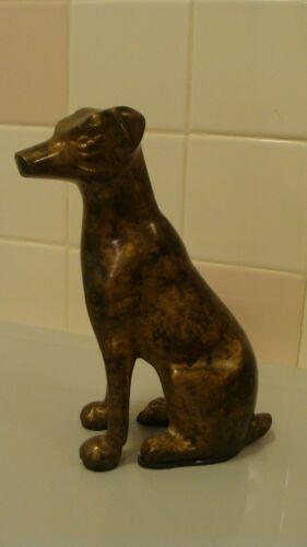 "Vintage Metal/Brass Sitting Dog Figurine 4.4"" x 2.5"" and 7.2"" tall"