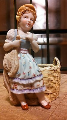 ANTIQUE -  Hal Sey Fifth - Porcelain PLANTER Basket - FIGURINE - Statue - LADY