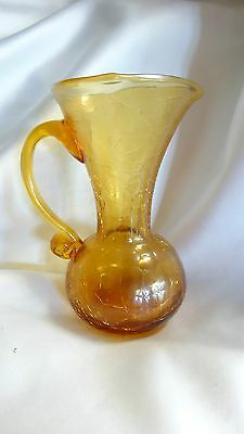 Hand blown Crackle Glass Applied Handle Amber Pitcher