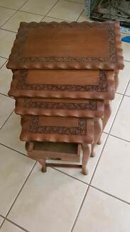 Solid Timber Queen Anne legs Nest of 4 Tables, carved edges