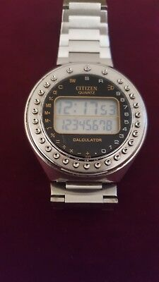 citizen round calculator digital watch vintage