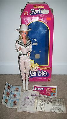Vintage Mattel 1980's Western Barbie Almost Complete Good Hair w/ Original Box