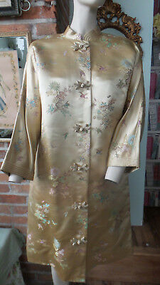 Vtg Lord & Taylor Teahouse Kimono Robe Housecoat  Floral Accents Size Small