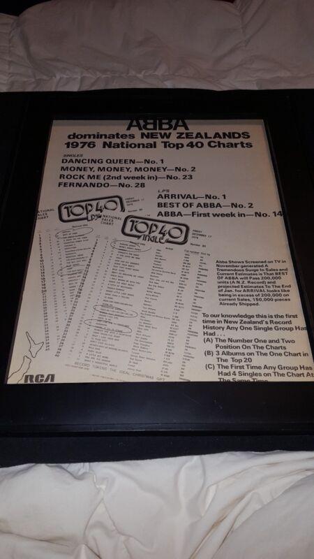 ABBA Rare Original New Zealand RCA 1976 Original Promo Poster Ad Framed!