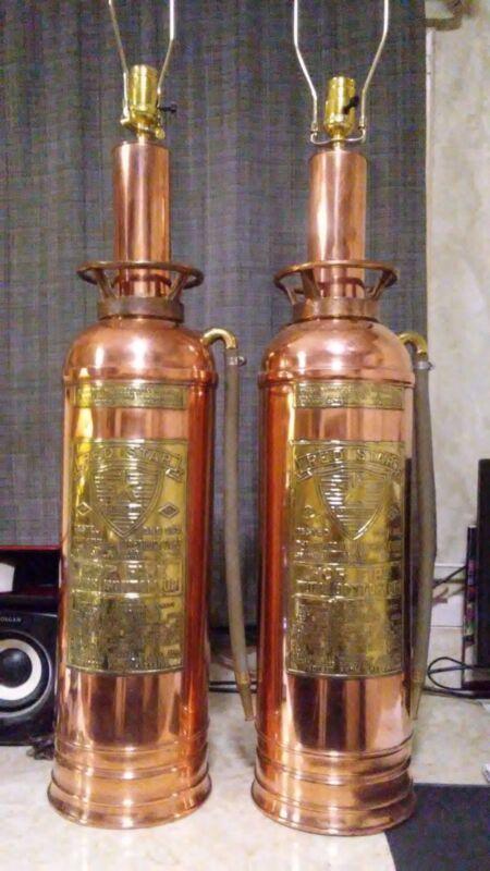 2 Antique Fire Extinguisher Lamps