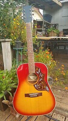 Vintage Hyostar Cherry Sunburst Acoustic 6 String Steel String Guitar