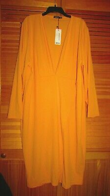 boohoo Plus Plunge Wrap Midi dress US24? 26? Color-Mustard New &flaw ESTATE FIND