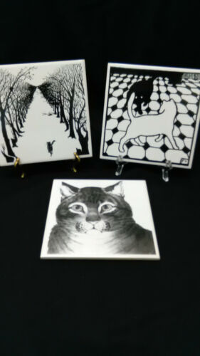 3 Great Black and White Art Pottery Cat Tiles