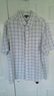 George Button Down Short Sleeve Dress Shirt 2XL Striped White Men's Woven -
