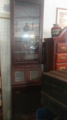 Wood Framed Glass Showcase Country General Store Display .solid Mahogany
