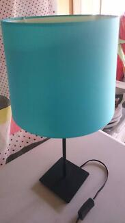 Blue lamp shade and stand