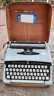 1963 Brother Valiant 880 Typewriter With Case. Powder Blue Mid Century Modern.