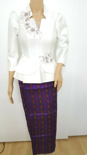 Cambodia Khmer Traditional Out fit Women Size M  White  Formal Seing Thai Skirt