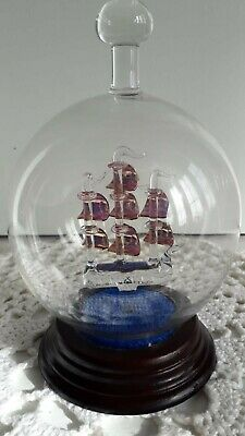 Vintage Golden Hind Christal Ship In a Round Glass Bottle RARE