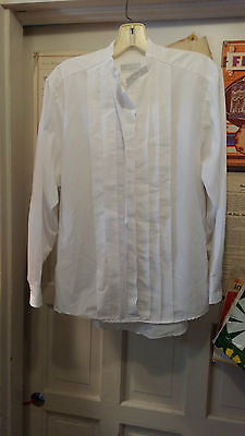 WOMENS CLERICAL NECKBAND COLLAR BLOUSE CM ALMY WHITE LONG SLEEVE SIZE 10