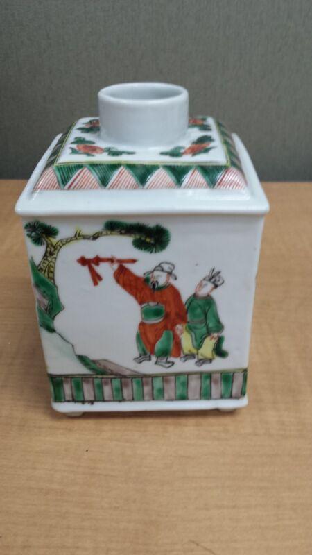 Antique Chinese export FamilleVerte Enameled Tea Caddy Jar