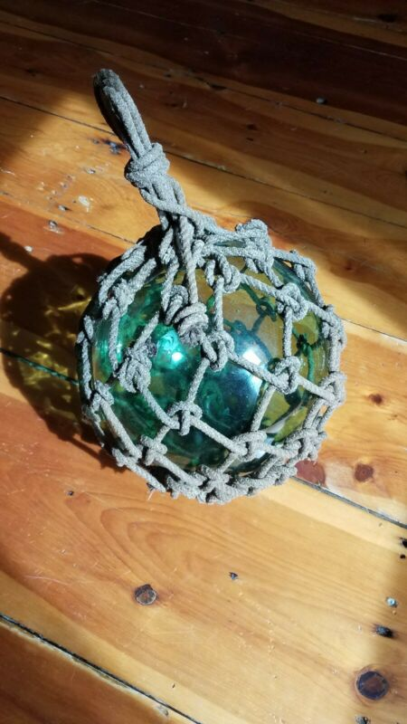 "Authentic Antique 10"" Japanese Aqua Green Glass Fish Float w/ Orig Rope Netting"