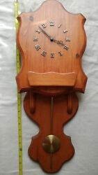 SWISS CHALET COTTAGE SOLID PINE WALL CLOCK with PENDULUM Vintage 1970's 27x12